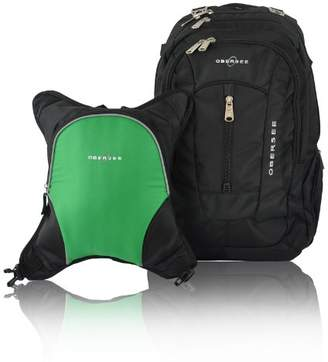 Obersee Bern Diaper Bag Backpack with Detachable Cooler (Black/Green)