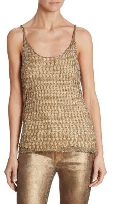 Ralph Lauren Collection Metallic Crochet Tank Top