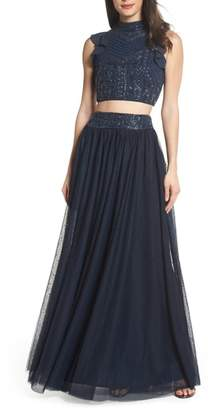 LACE & BEADS Embellished Two-Piece Gown