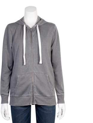 Grayson Threads Juniors' Plus Size Burnout Zip-Up Hoodie
