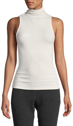 Enza Costa Ribbed Sleeveless Turtleneck Top