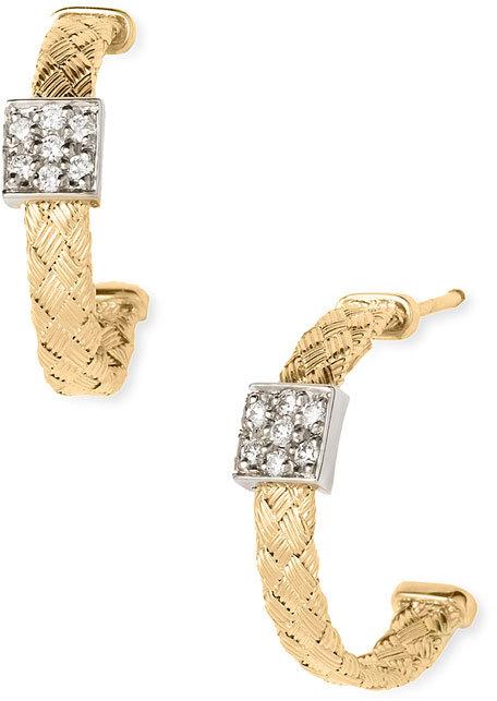 Roberto Coin Diamond & Yellow Gold Woven Earrings