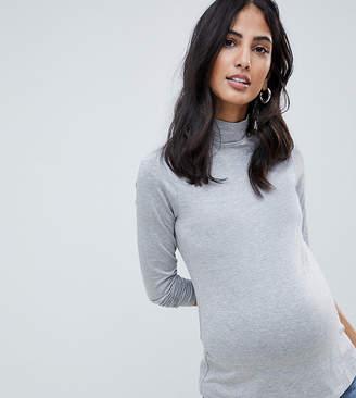 Asos DESIGN Maternity turtleneck long sleeve top in gray