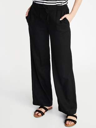 Old Navy Mid-Rise Wide-Leg Linen-Blend Pull-On Pants for Women