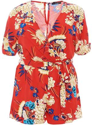 Quiz Curve Red And Royal Blue Playsuit