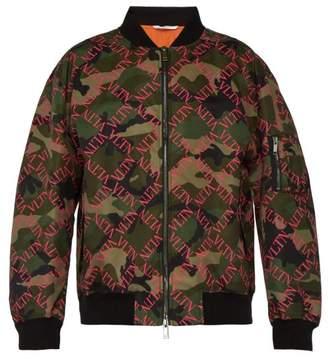 Valentino Logo Print Camouflage Bomber Jacket - Mens - Khaki