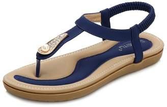 402f19e0567 Bohemia Wollanlily Women s Rhinestone Thong Elastic Sandals Summer Beach  T-Strap Flip Flops Flat Shoes