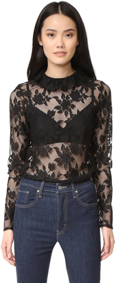 7 For All Mankind Long Sleeve Ruffled Lace Top $279 thestylecure.com