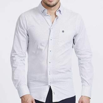 BRITISH BOXERS Men's Stanway Navy Print Slim Fit Shirt