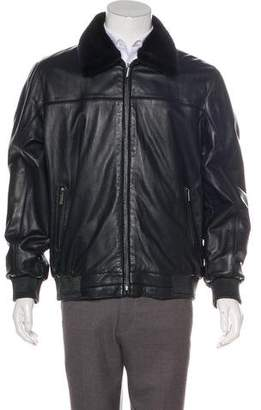 Stefano Ricci Mink-Trimmed Leather Jacket