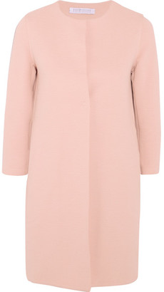 Harris Wharf London - Ribbed Stretch Cotton-blend Coat - Blush $500 thestylecure.com