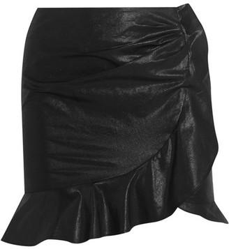 Isabel Marant - Luna Ruffled Cotton And Linen-blend Skirt - Black $415 thestylecure.com