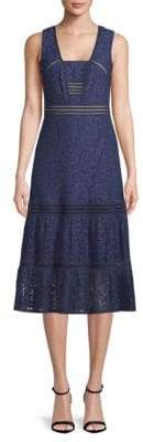 Box Neck Lace Midi Dress