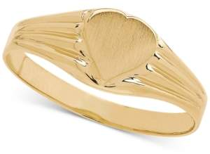Italian Gold Heart Signet Ring in 14k Gold
