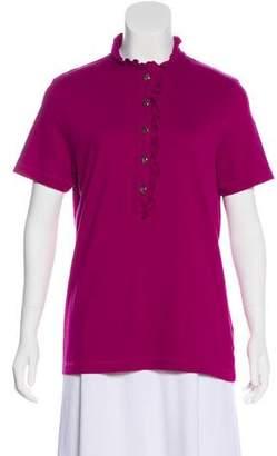 Tory Burch Ruffle-Trimmed Short Sleeve Top