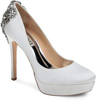 Badgley Mischka Women's Viola Almond Toe Embellished Satin Platform High-Heel Pumps