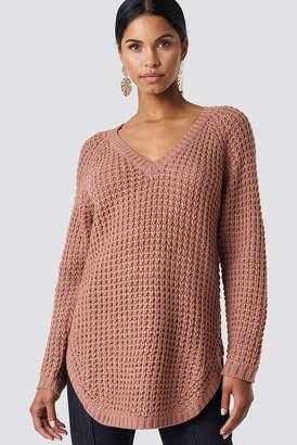 NA-KD Na Kd V-neck Pineapple Knitted Sweater Black