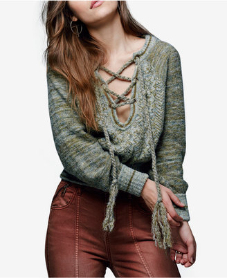 Free People Hoops And Hollas Lace-Up Sweater $168 thestylecure.com