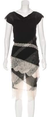 Nina Ricci Lace-Trimmed Midi Dress
