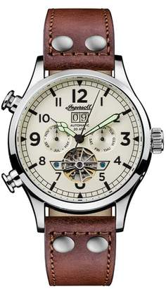 Ingersoll WATCHES Armstrong Automatic Chronograph Leather Strap Watch, 46mm