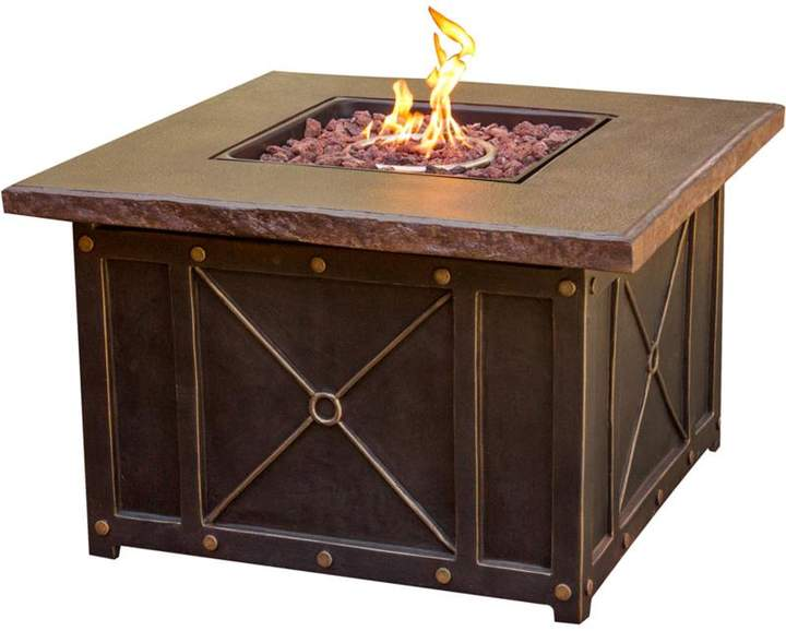 "Cambridge Silversmiths Cambridge 40"" Square Gas Fire Pit with Durastone Table Top"