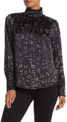 Go Silk Go by Victorian Floral Mock Neck Long Sleeve Silk Blouse