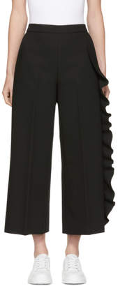MSGM Black Cropped Wide-Leg Ruffle Trousers