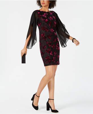 Donna Ricco Floral Velvet Sheath Dress