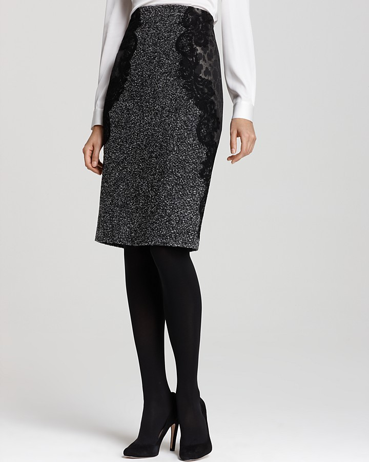 Elie Tahari Madison Phython Tweed Pencil Skirt with Lace