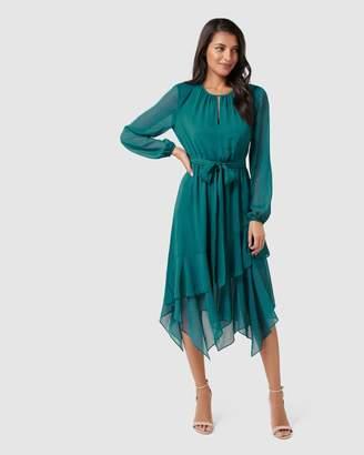 Forever New Tia Printed Asymmetric Frill Maxi Dress