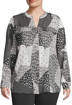 Calvin Klein Plus Mixed-Print Long-Sleeve Blouse