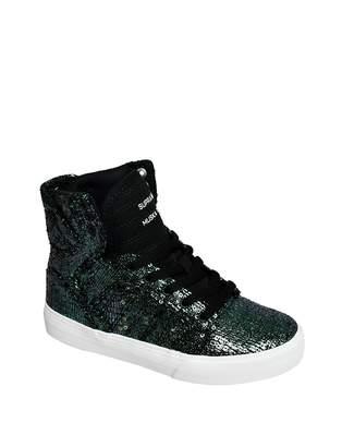 Supra Children (Youths) Skytop Black Sequin Skate Shoe
