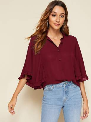 Shein Frilled Trim Cape Sleeve Blouse