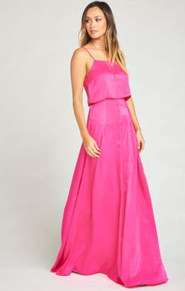 MUMU Princess Di Stretch Ballgown Maxi Skirt ~ Flirty Fuchsia Sheen