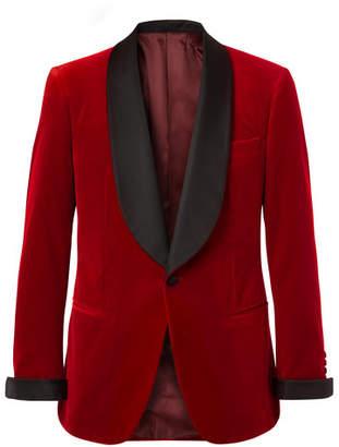 Kingsman Red Slim-Fit Twill-Trimmed Cotton-Velvet Tuxedo Jacket