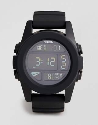 Nixon A197 The Unit Digital Silicone Watch In Black