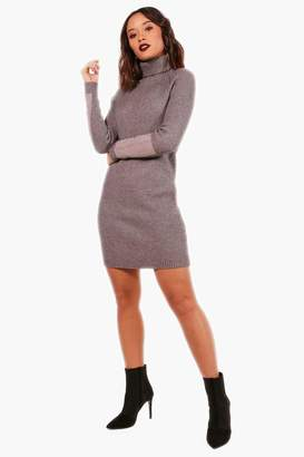 boohoo Heavy Knit Suede Patch Jumper Dress