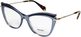 Miu Miu OMU06 Blue & Gold-Tone Cat Eye Optical Frames