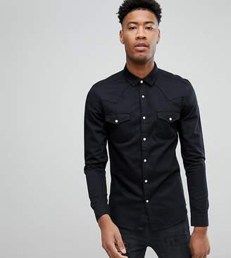 Asos TALL Skinny Denim Western Shirt In Black