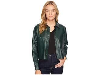 Romeo & Juliet Couture PU Button Up Shirt Jacket Women's Coat