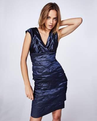 Nicole Miller Techno Metal V-neck Dress