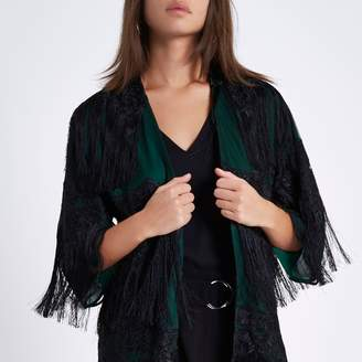 River Island Womens Dark green sheer tassel lace kimono