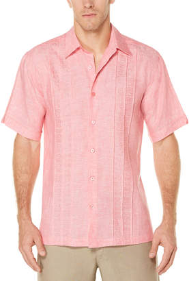 Cubavera 100% Linen Short Sleeve Cross Dye Tuck Embroidered Shirt