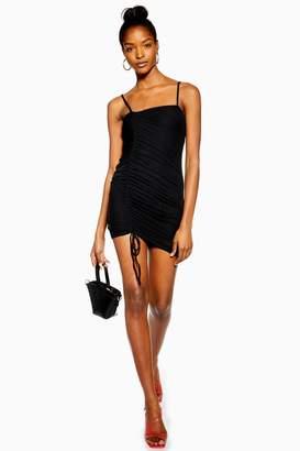 Topshop Black Mesh Mini Ruched Dress