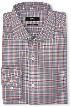HUGO BOSS Dark Red Plaid Slim Sport Shirt