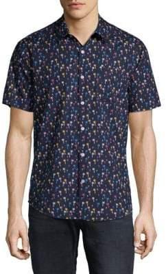 Original Penguin Mini Color Palm Cotton Button-Down Shirt