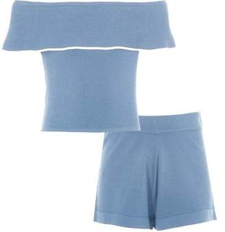 River Island Girls blue frill bardot top and shorts outfit