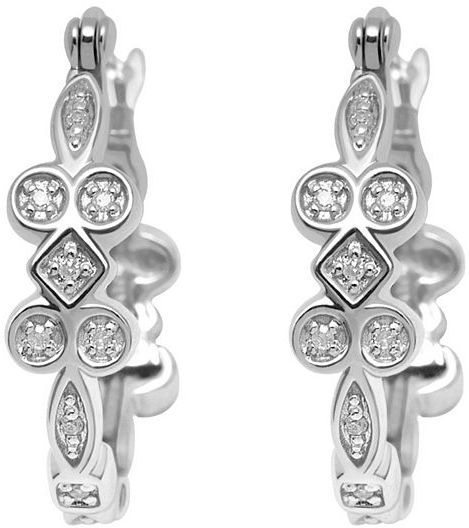 Sterling Silver Diamond Accent Hoop Earrings