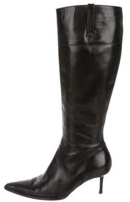 Michael Kors Leather Pointed-Toe Boots Black Leather Pointed-Toe Boots