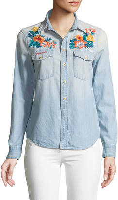 Mother Foxy Embroidered Button-Down Top